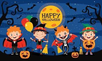 banner fofo de halloween vetor