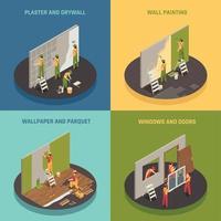 ilustração em vetor conceito isométrico renovação em casa