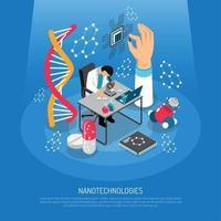 ilustração em vetor composição isométrica nano tecnologias