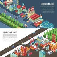 ilustração vetorial de banners horizontais de zona industrial vetor