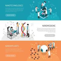 ilustração vetorial de banners horizontais de nano tecnologias vetor