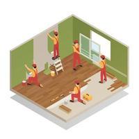 ilustração em vetor composição isométrica renovação em casa