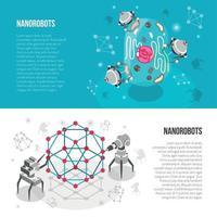 Ilustração em vetor nano robôs banners isométricos