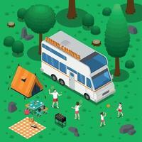 ilustração em vetor conceito isométrico de acampamento