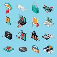 ilustração vetorial conjunto de ícones de proteção de hardware vetor