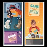 senhora com gatos banners verticais ilustração vetorial vetor