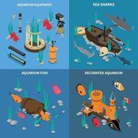 ilustração vetorial conjunto de ícones de conceito de aquário vetor