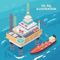 ilustração em vetor composição isométrica da indústria do petróleo