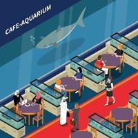 ilustração em vetor cafe aquarium composição isométrica