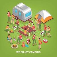 ilustração em vetor cartaz isométrico expedição acampamento