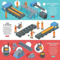 ilustração do vetor de banners isométricos da indústria do aço
