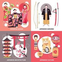 ilustração em vetor conceito plano antigo japão