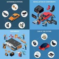 conjunto de ícones de conceito de eletrônica de carro vetor