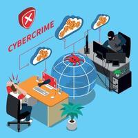 Ilustração em vetor conceito isométrico de crime cibernético