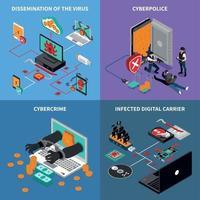 conjunto de ícones de conceito de proteção de hardware vetor