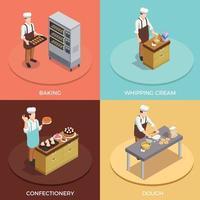 Conjunto de ícones de conceito de chef de confeitaria vetor