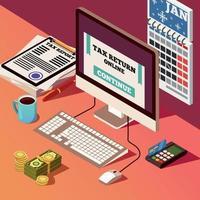ilustração em vetor composição isométrica contabilidade e impostos