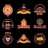 ilustração vetorial conjunto de emblemas de parque de diversões vetor