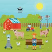 ilustração vetorial de composição plana de agricultura inteligente vetor