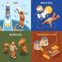 ilustração em vetor conceito design isométrico exploração espacial