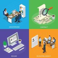 ilustração em vetor conceito isométrico recrutamento de emprego