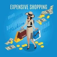 ilustração vetorial de composição de senhora rica em compras caras vetor