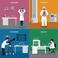 ilustração vetorial conjunto de conceito de pessoas cientistas vetor