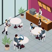 ilustração vetorial de panfleto de pessoas de almoço de negócios vetor