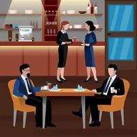 ilustração vetorial de composição de pessoas de almoço de negócios colorido vetor