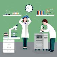 ilustração em vetor cientistas pessoas e composição de laboratório