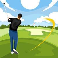 jogador de golfe no campo de golfe vetor