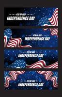 conjunto de cartões do dia da independência de 4 de julho vetor