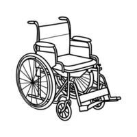 . cadeira de rodas isolada em um fundo branco. para pessoas com deficiência. ilustração vetorial vetor