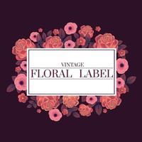 etiquetas de elementos rosa rosa fream e ouro para cartão de casamento ou cartão de agradecimento vetor