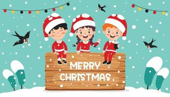 design de cartão de Natal com personagens de desenhos animados vetor