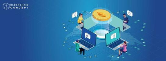 conceito de análise de dados de tecnologia de cadeia de blocos para investidores soluções de marketing ou desempenho financeiro criptomoeda estatísticas conceito ilustração design plano moderno vetor isométrico