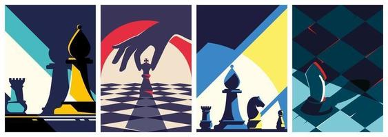 coleção de pôsteres de xadrez vetor
