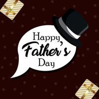 cartão de convite de feliz dia dos pais e fundo com chapéu e presentes vetor