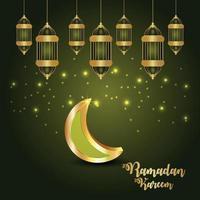 cartão convite ramadan kareem com lanterna dourada islâmica vetor
