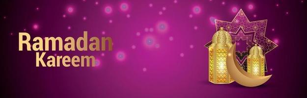 Lanterna dourada islâmica ramadan kareem e lua em fundo rosa vetor