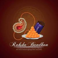 festival indiano de feliz festa raksha bandhan cartão comemorativo com rakhi e doce vetor
