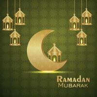 festival islâmico realista ramadan kareem com lua de padrão dourado e lanterna em fundo bonito vetor