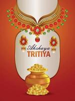 Folheto de convite do festival indiano akshaya tritiya com colar de ouro realista e moedas de ouro vetor