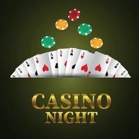 fundo de noite de cassino com texto dourado com fichas de cartas de jogar vetor