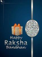 festival indiano de feliz raksha bandhan, panfleto de festa com rakhi de cristal vetor
