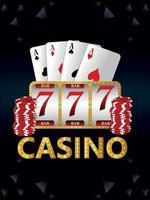 jogo de azar de cassino com ilustração vetorial de caça-níqueis e cartas de jogar vetor