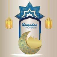 Ramadan Kareem Islâmico Festival Celebração Cartão Com Padrão Árabe Lua e Lanterna vetor