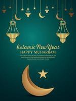 panfleto de festa de convite islâmico feliz ano novo feliz com lua dourada vetor