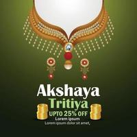 ilustração em vetor de cartão de desconto de venda de festival indiano akshaya tritiya com colar de ouro e diamantes