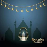 elegante vector lua dourada do ramadan kareem design de convite com mesquita